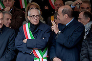 Commemoration for the 72th anniversary of the massacre  Fosse Ardeatine, made in Rome by the occupation troops of Nazi Germany, the  March 24, 1944, were killed, 335 civilians and Italian soldiers. Pictured: The special commissioner for Roma Capitale, Francesco Paolo Tronca and the President of the Lazio Region, Nicola Zingaretti (R). Rome Italy. March 23, 2016.