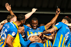Lenell John-Lewis of Shrewsbury Town celebrates winning the playoff semi-final against Charlton Athletic - Mandatory by-line: Robbie Stephenson/JMP - 13/05/2018 - FOOTBALL - Montgomery Waters Meadow - Shrewsbury, England - Shrewsbury Town v Charlton Athletic - Sky Bet League One Play-Off Semi Final