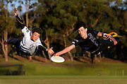 Sport<br /> Daniel Wilkins<br /> The Sunday Times<br /> Jaxon Botje and Andrew Jennings prepare for the upcoming the Australian mixed-gender ultimate championship frisbee in Perth.