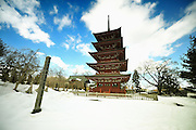 Gojunoto pagoda located in Hirosaki, northern Jaopan. Shot on a fine winter's day.