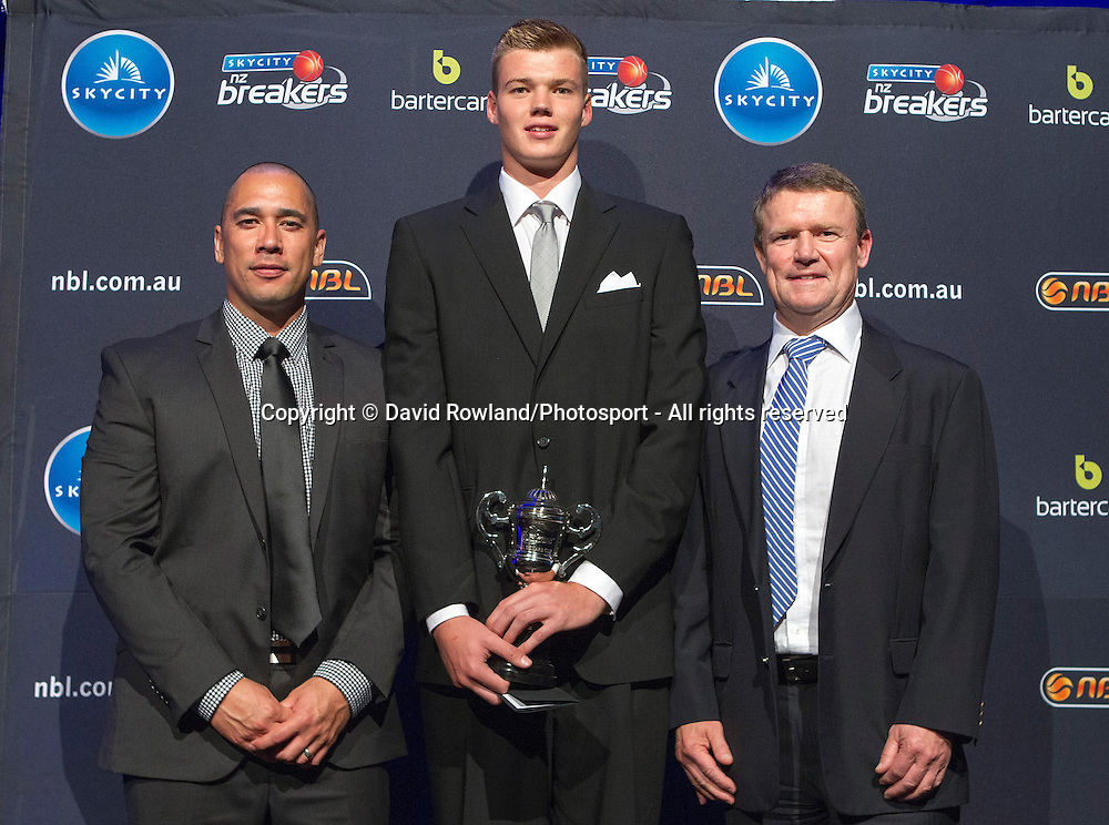 Iain Abercrombie, Sales Director of Meadow Fresh with Paul Henare present Jack Salt with the Paul Henare Award at the Skycity Breakers Awards, 2013-14, Skycity Convention Centre, Auckland, New Zealand, Friday, March 28, 2014. Photo: David Rowland/Photosport