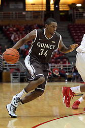 29 December 2014:  T.J. Riggs during an NCAA non-conference interdivisional exhibition game between the Quincy University Hawks and the Illinois State University Redbirds at Redbird Arena in Normal Illinois.