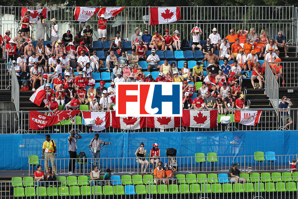 RIO DE JANEIRO, BRAZIL - AUGUST 09:  Fans of Canada in their seats during the hockey game against Netherlands on Day 4 of the Rio 2016 Olympic Games at the Olympic Hockey Centre on August 9, 2016 in Rio de Janeiro, Brazil.  (Photo by Christian Petersen/Getty Images)