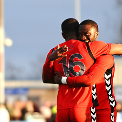 TELFORD COPYRIGHT MIKE SHERIDAN 1/1/2019 - Goalscorer Andre Brown and Dan Udoh of AFC Telford embrace at the final whistle during the Vanarama Conference North fixture between AFC Telford United and Nuneaton Borough FC.