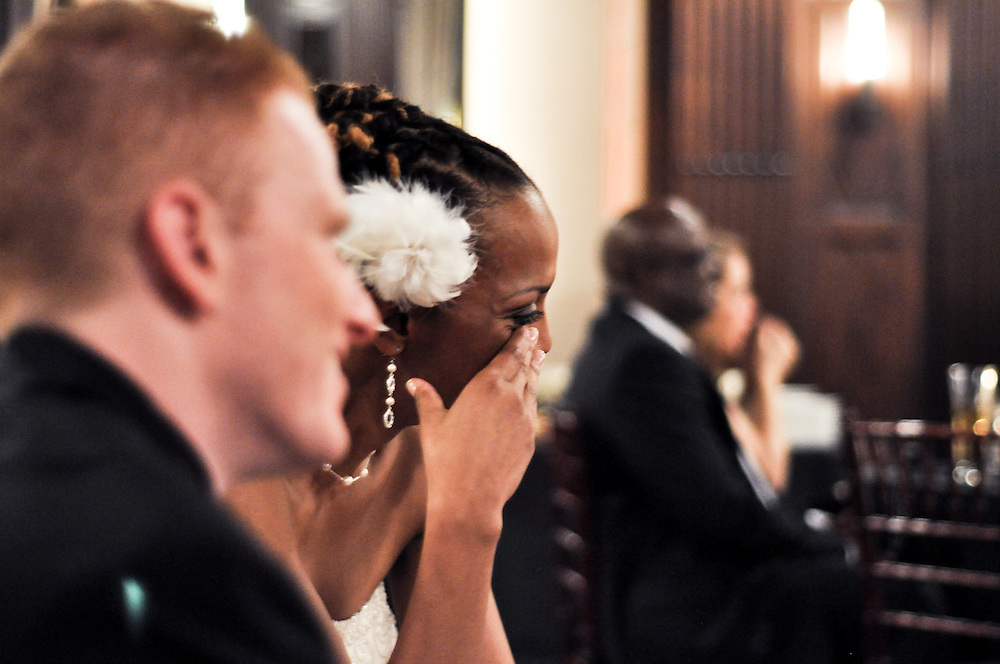 Uzoezi sheds tears as her bridesmaids gush over their love for the couple, Julia Morgan Ballroom, Merchant's Exchange, San Francisco