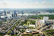 Nederland, Zuid-Holland, Rotterdam, 10-06-2015; de wijk Dijkzigt met Rochussenstraat. Rechts Dijkzigt ziekenhuis, onderdeel van Erasmus MC, naast de hoogbouw Sophia Kinderziekenhuis  (Erasmus MC - Sophia). In de voorgrond Het Nieuwe Instituut (NAi - Nederlands Architectuur Instituut) en Museum Boijmans Van Beuningen. Museum park. <br /> Rotterdam city centre with Museum park and Erasmus Medical Centre.<br /> luchtfoto (toeslag op standard tarieven);<br /> aerial photo (additional fee required);<br /> copyright foto/photo Siebe Swart