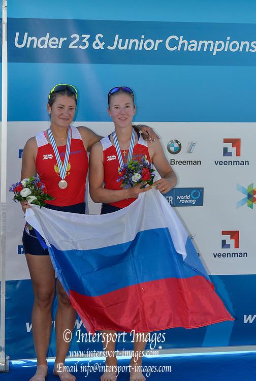 Rotterdam. Netherlands.  Bronze  medalist. RUS BW2-. Bow.  Kira YUVCHENKO and Elizaveta<br /> KORNIENKO, {WRCH2016}  at the Willem-Alexander Baan.   Thursday  25/08/2016 <br /> <br /> [Mandatory Credit; Peter SPURRIER/Intersport Images]