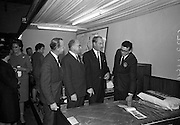 Irish Furniture Fair..1966..27.09.1966..09.27.1966..27th September 1966..Today saw the opening of the Irish Furniture Fair at the Intercontinental Hotel in Dublin. The fair is to promote the quality and value of furniture manufactured within Ireland...Image shows the Minister for Industry and Commerce, Mr George Colley TD,inspecting a bed manufactured by 'Swan'.