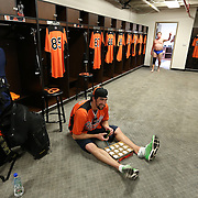 Michael Phelps in the Orioles spring training locker room, 2013.