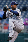 Tampa Bay Rays pitcher Roberto Hernandez throws the ball in the first inning of a baseball game against the Kansas City Royals at Kauffman Stadium in Kansas City, Thursday, May 2, 2013.  (AP Photo/Colin E. Braley).