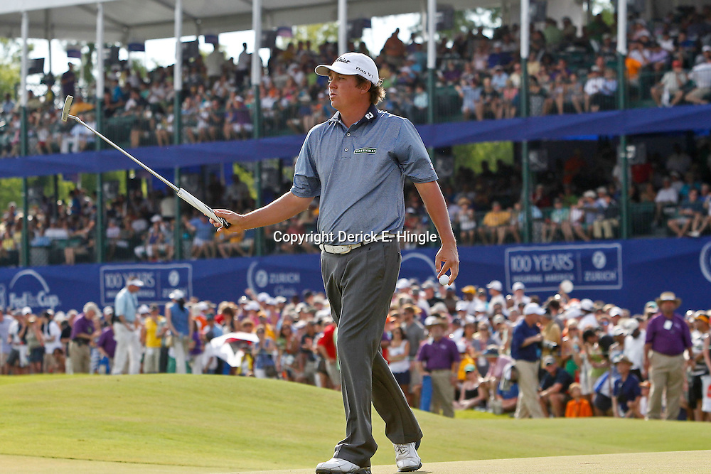 Apr 29, 2012; Avondale, LA, USA; Jason Dufner reacts after missing a putt on the 18th hole forcing a playoff hole during the final round of the Zurich Classic of New Orleans at TPC Louisiana. Mandatory Credit: Derick E. Hingle-US PRESSWIRE