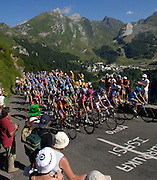 FRANCE 25th JULY 2007: Tour de France Stage 16 Orthez to Gorette - Col d'Aubisque. The peloton has less than 2.5km to go to the finish at the top of the Col d'Aubisque.