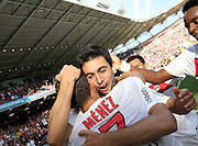 Jérémy Ménez scores and celebrates with Javier Pastore to make it 3-1 to PSG against Toulouse in the 90th minute. Toulouse v Paris Saint Germain (1-3), Ligue 1, Stade Municipal, Toulouse, France, 28th August 2011.
