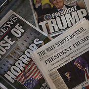 Three New York ( Daily News, The Wall Street Journal and New York Post ) newspaper headlines after Election, Donald Trump has been elected president of the United States.<br /> <br /> Surprised outcome, had shown a fairly competitive race with critical weaknesses for Clinton in the Electoral College. Clinton will eventually win the popular vote as more votes come in from California.