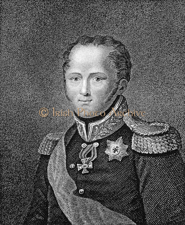 Alexander I (1777-1825) Tsar of Russia from 1801. Stipple engraving from a miniature. Published London 1817.