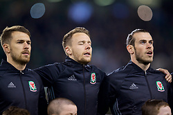 DUBLIN, REPUBLIC OF IRELAND - Friday, March 24, 2017: Aaron Ramsey, Chris Gunter and Gareth Bale before the 2018 FIFA World Cup Qualifying Group D match against Republic of Ireland at the Aviva Stadium. (Pic by David Rawcliffe/Propaganda)
