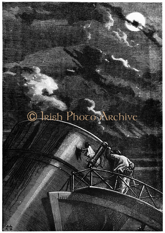 Director of Cambridge Observatory, Massachusetts, using the reflecting telescope on the Rocky Mountains to watch the launch of the space capsule 'Columbiad'. From Jules Verne 'De la Terre a la Lune', Paris, 1865.   Wood engraving.