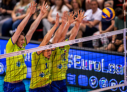 20-05-2018 NED: Netherlands - Slovenia, Doetinchem<br /> First match Golden European League / (L-R) Toncek Stern #1 of Slovenia, Saso Stalekar #11 of Slovenia, Jan Klobucar #12 of Slovenia