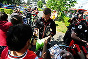 AFC Bournemouth goalkeeper Artur Boruc signing his autograph for fans on arrival for the Premier League match between Bournemouth and Burnley at the Vitality Stadium, Bournemouth, England on 13 May 2017. Photo by Graham Hunt.