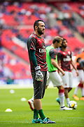 Arsenal goalkeeper Ospina during the warm up at  FA Community Shield match between Arsenal and Chelsea at Wembley Stadium, London, England on 6 August 2017. Photo by Sebastian Frej.