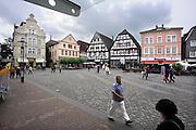 Duitsland, Unna, 29-8-2010Marktplaats in dit stadje in het Ruhrgebied. Er staan een paar oude, historische vakwerkhuizen.Foto: Flip Franssen/Hollandse Hoogte
