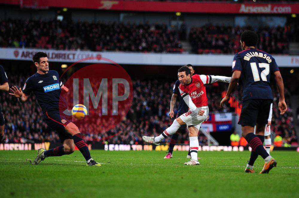 Arsenal's Santi Cazorla has his shot blocked by Blackburn Rovers' Scott Dann - Photo mandatory by-line: Dougie Allward/JMP - Tel: Mobile: 07966 386802 16/02/2013 - SPORT - FOOTBALL - Emirates Stadium - London -  Arsenal V Blackburn Rovers - FA Cup - Fifth Round