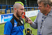 Forest Green Rovers Liam Noble (15) being interviewed during the Vanarama National League match between Dover Athletic and Forest Green Rovers at Crabble Athletic Ground, Dover, United Kingdom on 10 September 2016. Photo by Shane Healey.
