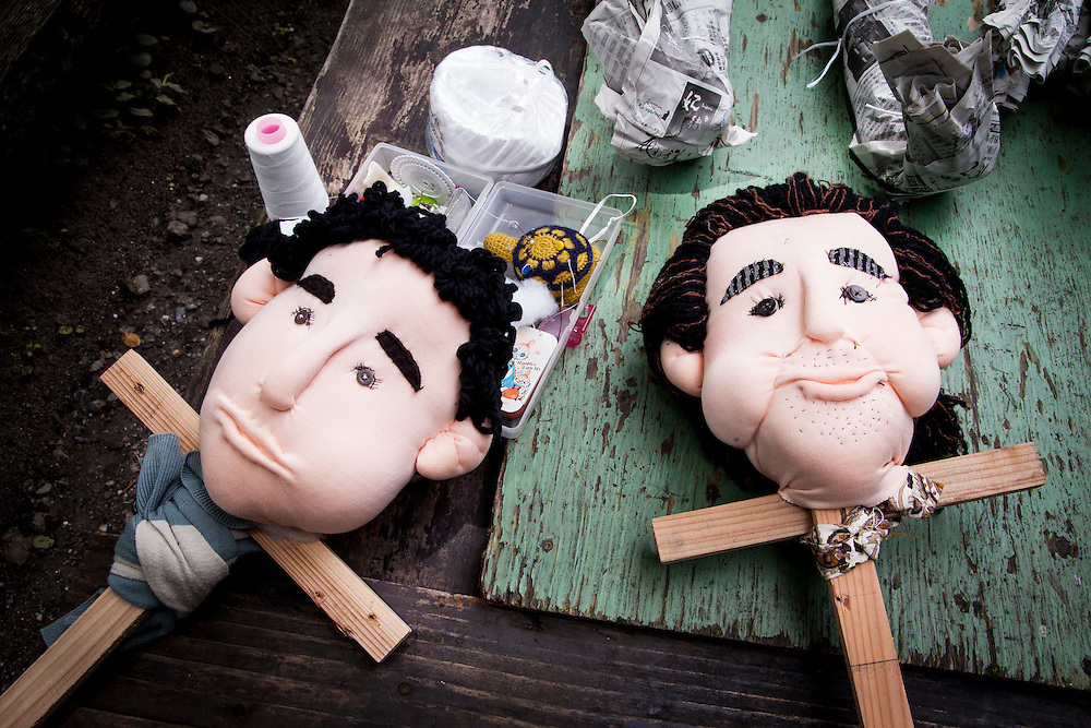 MIYOSHI, JAPAN - JULY 11 :  Head parts of hand-made dolls made by local resident Tsukimi Ayano to replace the departed in Nagoro village, Miyoshi, Japan on July 11, 2015. Nagoro is a slowly shrinking village located in the valleys of Shikoku, Japan. According to Japan's Statistic Bureau, the percentage of people over 65 years old in Japan is 26.8% while that of the the world is 8.2%. The National Institute of Population and Social Security Research in Tokyo, Japan's population, now around 128 million, is expected to dip below 100 million in 2046.<br /> <br /> Photo: Richard Atrero de Guzman