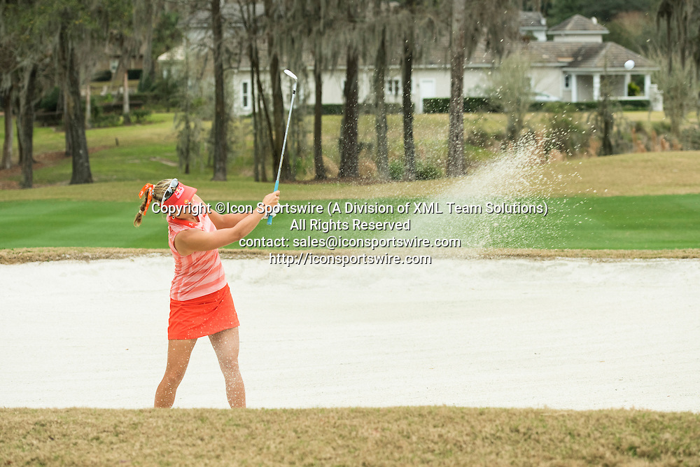 February 03, 2016: Lexi Thompson plays out of the sand onto the fringe during the second round of the Coates Golf Championship in Ocala, FL. (Photograph by Roy K. Miller/Icon Sportswire)