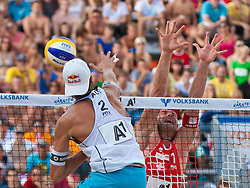 04.08.2011, Klagenfurt, Strandbad, AUT, Beachvolleyball World Tour Grand Slam 2011, im Bild Matthias Mellitzer AUT, Martin Laciga Schweiz, EXPA Pictures © 2011, PhotoCredit EXPA Gert Steinthaler