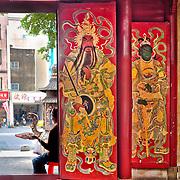 Door Gods Garan and General Heng金剛力士哼將 stand guard at Da Guanyin Ting Temple, Tainan City, Taiwan