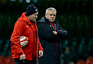 Head Coach Warren Gatland of Wales with Kicking coach Neil Jenkins during the captains run<br /> <br /> Photographer Simon King/Replay Images<br /> <br /> Six Nations Round 5 - Wales v Ireland Captains Run - Saturday 15th March 2019 - Principality Stadium - Cardiff<br /> <br /> World Copyright © Replay Images . All rights reserved. info@replayimages.co.uk - http://replayimages.co.uk