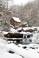 67395-04312 Glade Creek Grist Mill in winter, Babcock State Park, WV