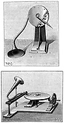 Emil Berliner's Gramophone. Top: Recording stylus and mouthpiece. Bottom: Playing a disc. Engraving published Paris 1888