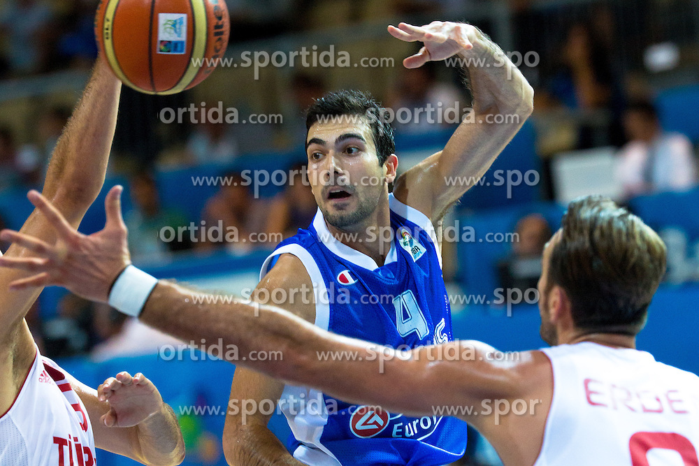 Kostas Sloukas #4 of Greece during basketball match between national team of Turkey and Greece of Eurobasket 2013 on September 7, 2013 in Arena Bonifika, Koper, Slovenia. (Photo By Matic Klansek Velej / Sportida.com)