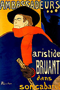 Aristide Bruant (1851-1925) French cabaret singer and nightclub owner, 1892.  Poster by Henri Toulouse-Lautrec (1864-1901) French painter and printmaker showing Bruant in black cloak and hat with red scarf.