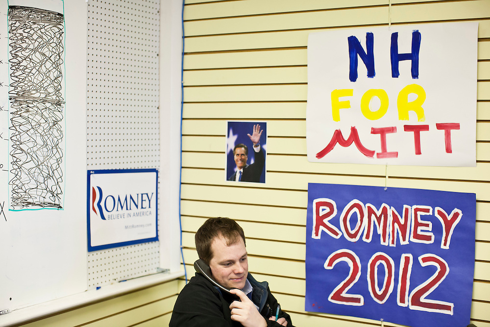 Dan Higginson, a volunteer from Chapel Hill, NC, calls potential supporters at the New Hampshire campaign headquarters of Republican presidential candidate Mitt Romney on Monday, January 9, 2012 in Manchester, NH. Brendan Hoffman for the New York Times