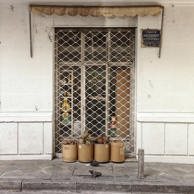 An old fashioned, still open shop in Kleisthenous Str Athens selling spices