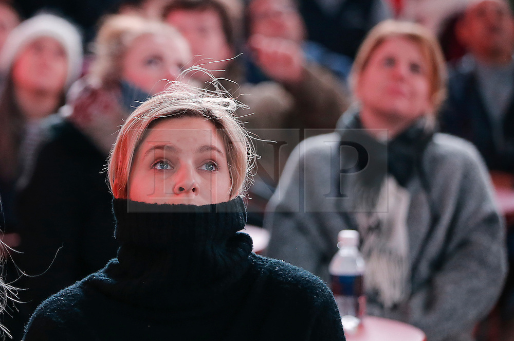 © Licensed to London News Pictures. 09/11/2016. New York City, USA. Despondent Hilary Clinton fans react to news that Donald Trump looks likely to be elected as the next president of the United States, while gathering in Times Square, New York City, on Wednesday, 9 November. Photo credit: Tolga Akmen/LNP