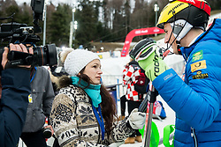 "Journalist Ana Kobal and Stefan Hadalin (SLO) after the 1st Run of FIS Alpine Ski World Cup 2017/18 Men's Slalom race named ""Snow Queen Trophy 2018"", on January 4, 2018 in Course Crveni Spust at Sljeme hill, Zagreb, Croatia. Photo by Vid Ponikvar / Sportida"