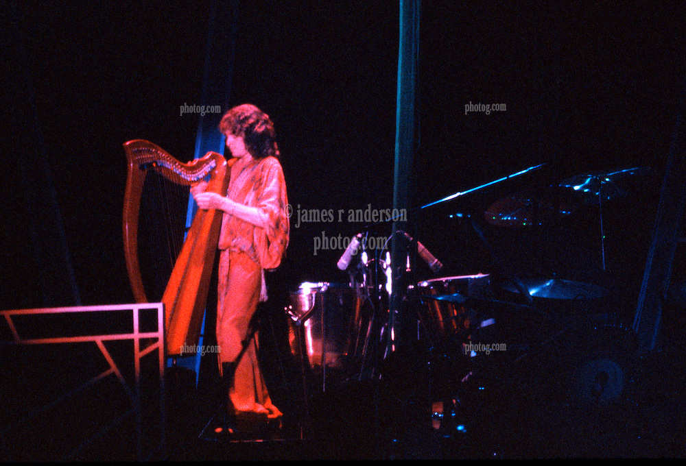 Yes performing at the New Haven Coliseum on 9 August 1977. Jon Anderson on Harp. Credit Photograph: James R Anderson, New Haven CT