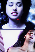 TV screens are showing people's faces at the time of their climax in the Orgasm Tunnel at Amora, the Academy of Sex and Relationships, on Tuesday, April 17, 2007, in London, UK. The world's first visitor attraction dedicated to love, sex and relationships opens its door officially tomorrow (18th of April 2007) in Piccadilly. The permanent interactive attraction, Amora, expects to draw over half a million, 18+ visitors in the first year and fuses entertainment, excitement and education in a unique powerful sensory experience. With seven zones covering every aspect of relationships from first filtrations and dating to fantasy and fetish. Visitors can explore the science of attraction - what they find attractive and why, learn how to enhance their skills and even create what their perfect partner might look like. Male and female models help demystify erogenous zones, G-spot and prostate, while insights and technique tips are offered on various topics. Sexual awareness and well-being are also covered thoroughly. ..