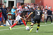 Jacob Maddox and Josh Doherty during the EFL Sky Bet League 2 match between Cheltenham Town and Crawley Town at LCI Rail Stadium, Cheltenham, England on 4 August 2018. Picture by Antony Thompson.