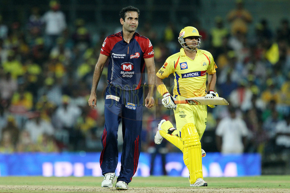 Irfan Pathan and Suresh Raina during match 59 of the the Indian Premier League ( IPL) 2012  between The Chennai Superkings and the Delhi Daredevils held at the M. A. Chidambaram Stadium, Chennai on the 12th May 2012..Photo by Ron Gaunt/IPL/SPORTZPICS