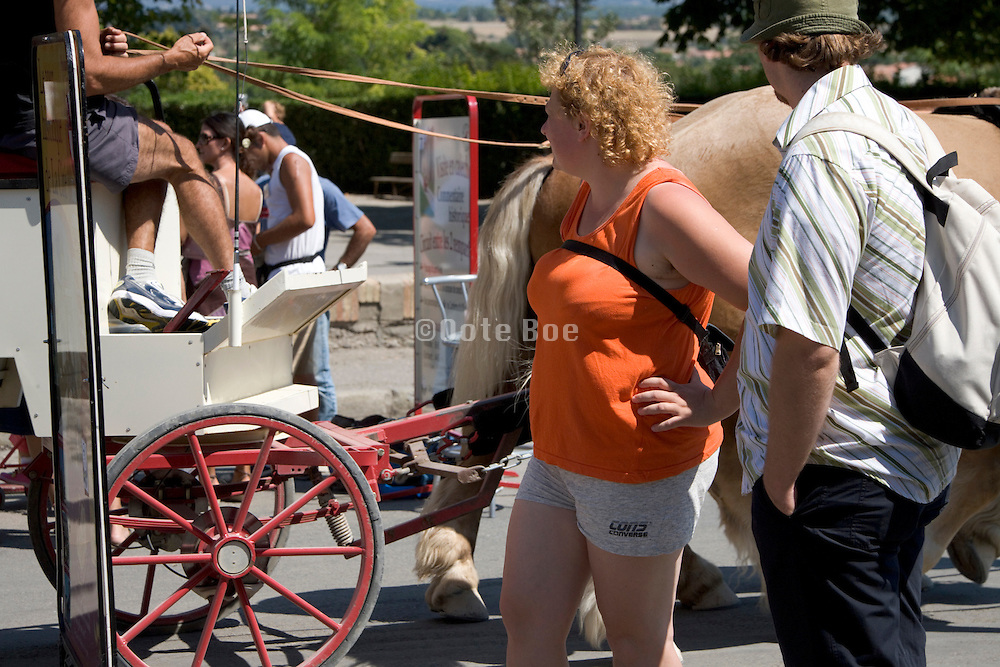 two tourist looking at a horse driven tourist wagon