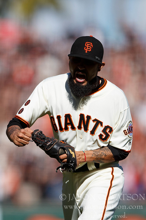 SAN FRANCISCO, CA - OCTOBER 02: Sergio Romo #54 of the San Francisco Giants celebrates after the game against the Los Angeles Dodgers at AT&T Park on October 2, 2016 in San Francisco, California. The San Francisco Giants defeated the Los Angeles Dodgers 7-1. (Photo by Jason O. Watson/Getty Images) *** Local Caption *** Sergio Romo
