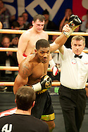 Picture by Alan Stanford/Focus Images Ltd +44 7915 056117<br /> 14/11/2013<br /> Anthony Joshua beats his latest opponent  Hrvoje Kisicek with a TKO during their heavyweight contest at York Hall, Bethnal Green.