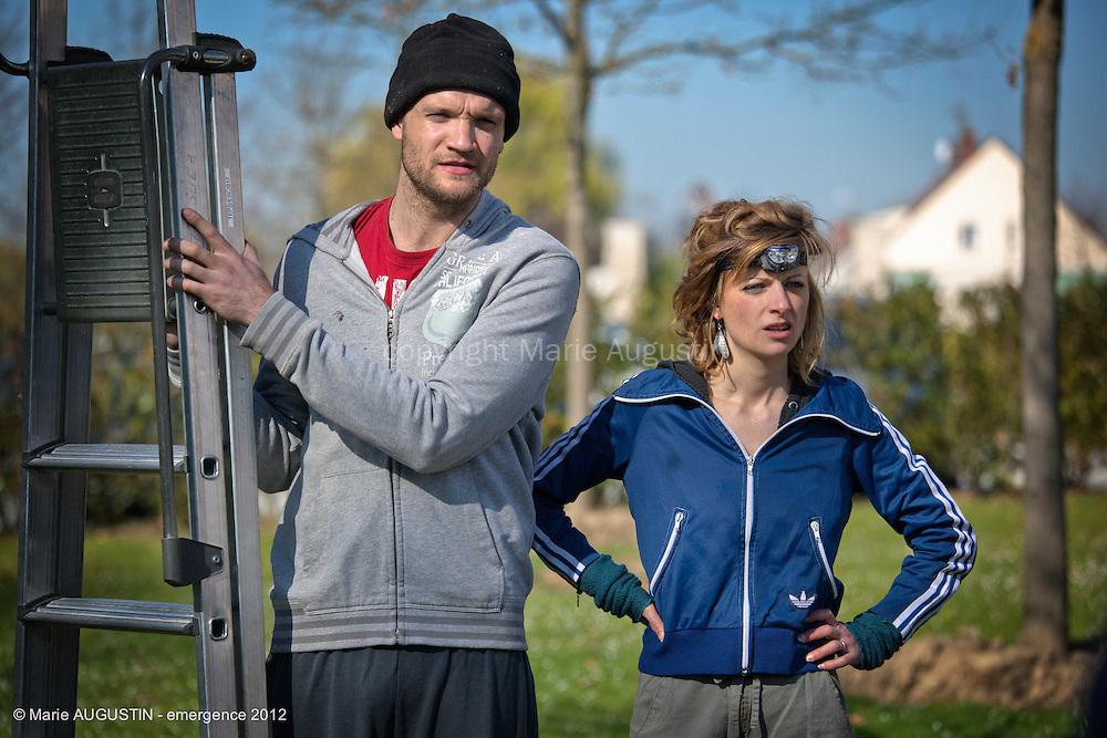 Laurent MÉNORET et Anne-Lise GUILLET, comédiens - tournage scène imposée de Guilhem AMESLAND - emergence 2012
