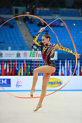 Filiorianu Ana Luiza during qualifying at ribbon in Pesaro World Cup 11 April 2015. Ana Luiza was born in July 10, 1999 in Bucharest. She is a very good Romanian individual rhythmic gymnast.
