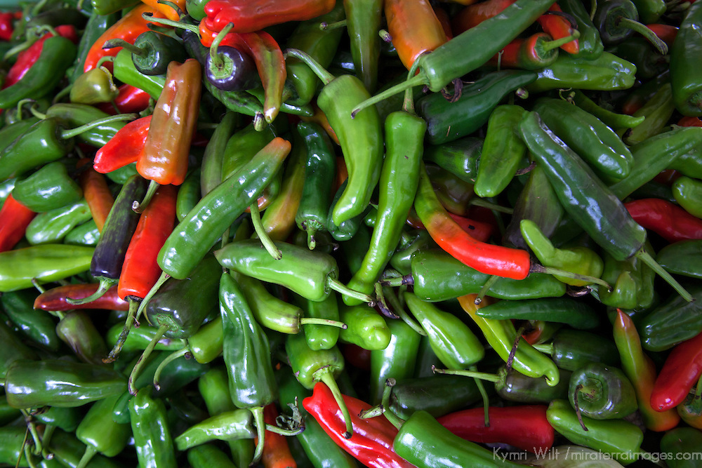 Asia, Bhutan, Trongsa. Fresh chiles in Bhutanese market.